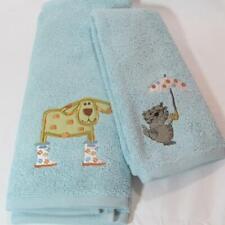 Novelty Hand & Tip Towel Set  RAINING CATS & DOGS Pets with Rainboots & Umbrella