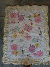 """Butterflies/Birds/Flowers Scalloped Edge Crib Quilt - 34"""" X 43"""""""