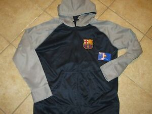 FC BARCELONA SOCCER FULL ZIP SWEATSHIRT (XL) NEW W/TAGS RAISED LOGO W/POCKETS