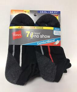 Hanes Boys ComfortBlend No Show Cushioned Socks-Shoe Sizes 3-9-7 Pairs