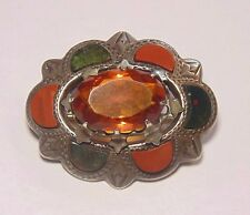 Antique Victorian Sterling Silver Scottish Agate Bloodstone Pin Brooch