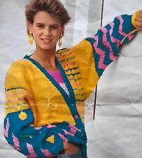 Vintage Knitting Pattern - Geometric Patterned Jacket by Hayfield in DK wool