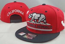 NEW CALIFORNIA REPUBLIC EMBROIDERED FLAT BILL SNAPBACK CAP HAT RED/BLACK