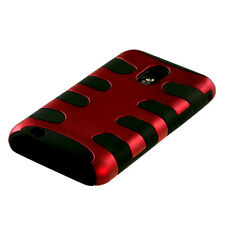 SAMSUNG EPIC TOUCH 4G D710 GALAXY S 2 R760 DUAL LAYER HYBRID CASE BLACK/RED