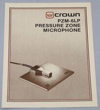 RARE_CROWN  PZM-6LP Pressure Zone Microphone  Original 2-page  Sales Brochure
