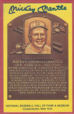 1964 MICKEY MANTLE AUTOGRAPH GOLD/YELLOW HALL OF FAME PLAQUE WITH CERTIFICATION