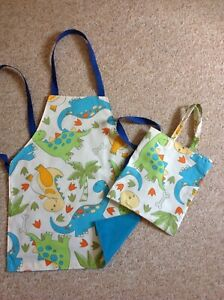 Childs apron in a bag age 3-6 handmade dinosaur fabric