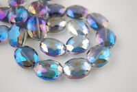 10pcs 16X12mm Oval Faceted Crystal Glass Charms Loose Beads Blue Colorized New
