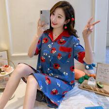 Women Silk Short Sleeve Night Sleepwear Nightwear Dress Shorts Pajamas Homewear