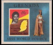 Grenada Silk Souvenir Sheet Honors Jennifer Hosten Miss World 1972 Overprinted