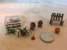 Dollhouse miniature lot of  1:48 scale garden items
