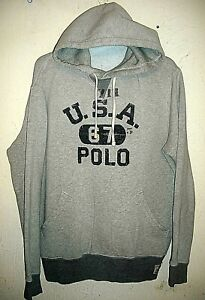 VINTAGE POLO RALPH LAUREN  67 USA HOODED GRAY FRONT POCKETS COTTON-LARGE