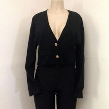 Womens Sweater L Button Up Crop Pockets V Neck Brass Plum Black Nordstom Size L