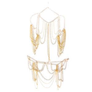 Women Gold Shoulder Body Waist Tassel Chain Bikini Harness Necklace Jewelry