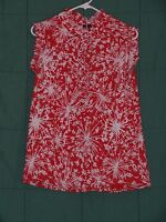 Women's Size Med RELATIVITY Red White Sleeveless Ruffle Shirt Top Blouse Tunic