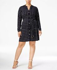 MICHAEL Michael Kors Plus Size 2X Grid Print Belted Shirt Dress NWT
