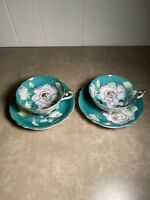 Vintage Chugai China Occupied Japan Cup & Saucer Flower Leaves Teal Set Of 2