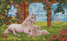 "Goldmilky cross stitch kit 'Unicorn mom and baby in garden"" (c30)"