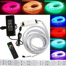 Brightest RGB LED Strip Dual layer 16ft WATERPROOF + Controller + UL Power