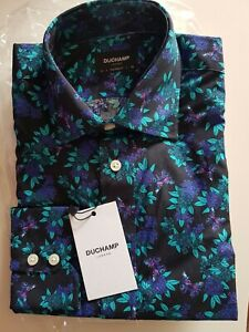 DUCHAMP LONDON Black Tone and Turquoise & Purple Floral Print Tailored Shirt