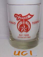 MASON MASONIC FREEMASONRY GLASS CUP TEMPLE AINAD TEMPLE POTENTATE 1980 NAME LIST