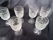 Lot of 6 IRIS AND HERRINGBONE WINE GOBLET 3 OZ - JEANNETTE GLASS DEPRESSION