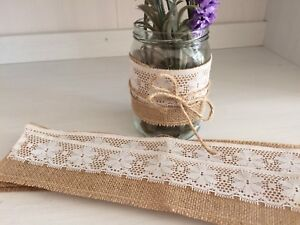 Rustic Hessian and Lace Jam Jar Wrap Covers x 10 DIY Wedding Decorations