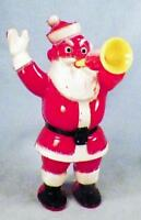 Santa Claus Candy Container Christmas Decoration Horn Blower Waving Hard Plastic