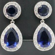 Vintage 3 Ct Pear Blue Sapphire Diamond Earrings 14K White Gold Plated Jewelry