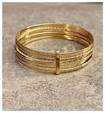 Bracelet Joncs Semainier Diamanté Plaqué Or Diamètre 6,5 CM Bijoux Femme