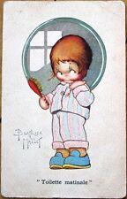 1920s Beatrice Mallet/Artist-Signed Postcard: Girl w/Hair Brush, Pajamas