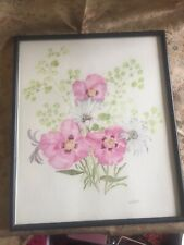 Original Watercolour Floral Pink Poppies Painting