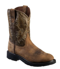 Ariat Sahara Pull-On Roper Toe Work Boots for Men - Brown/Army Green 11012648