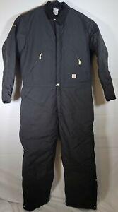 Carhartt Men's Arctic Quilt Lined Zip Front Yukon Coveralls Black Sz 44 Tall X06
