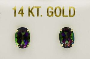 MYSTIC TOPAZ 1.52 Cts STUD EARRINGS 14k GOLD ** New With Tag **