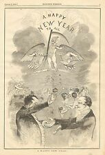New Year, A Happy New Year To All, Vintage 1858 Antique Art Print