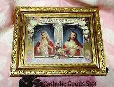 SACRED HEARTS HOUSE BLESSING - ANTIQUE GOLD FRAME