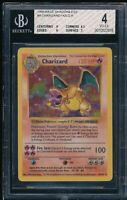 BGS 4 CHARIZARD 1999 Pokemon Base Unlimited SHADOWLESS #4/102 Holo Rare VG-EX