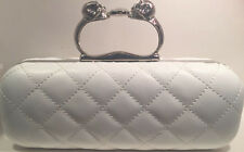 Quilted Vinyl Clutch Purse with Skull Handle