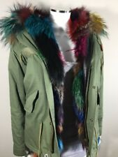 Full Fox Fur Lined Parka, With Raccoon Hood, S, Multi-Color, EUC