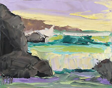 Pacific Rocks One Original Expression Seascape Oil Painting 8x10 091418 KEN