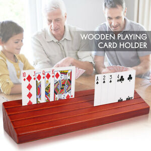 Wooden Playing Card Holder Hands Free for Canasta Poker Parties Game 13.8x3.1''