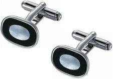 Black Onyx with Ice Blue Mother of Pearl Cufflinks, SC-079, New