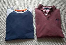 2 Superdry XL Mens Long Sleeve T-Shirts Burgundy Grey Blue