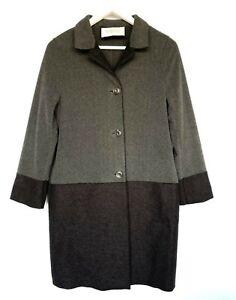 HARRIS WHARF LONDON Boiled Wool&Polar Fleece Two tone Coat  UK10  RRP£400