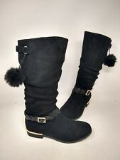 NEW! Skechers Youth Girl's Mad Sass Pom Pom Pizzazz Boots Blk #87698L 201J cc