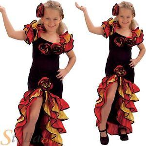 Girls Rumba Spanish Flamenco Dancer Spanish Salsa Fancy Dress Costume Outfit