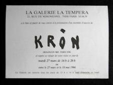 PAUL KRÔN Carton Gal. La tempera Paris 1984 Besançon Doubs Paris Schurr Warnod