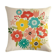 Pillowcase Branch Floral Theme Linen Pillow Case Cover Waist Cushion Decor BS
