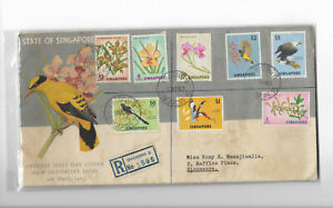 Singapore Year 1963 Flowers and Birds High Value FDC postally sent